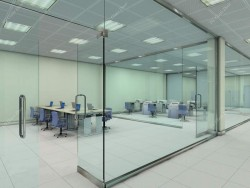 Clear Glass Partition Wall