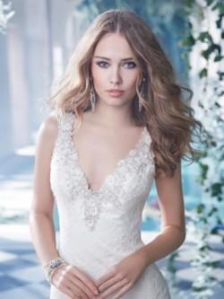 A-formet/Prinsesse V-hals Kort slep Blonder Brudekjole med Perler