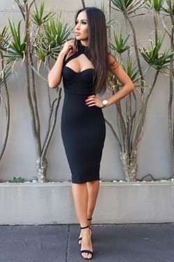 2015 Black Halter Strap Top Fitted Bandage Club Party Dress Sale [161807] – $116.00 : Chea ...