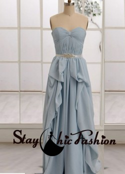 Blue Pleated Bowknot Bust Ruffled Long Chiffon Prom Homecoming Dress 2015 [sc819] – $120.0 ...