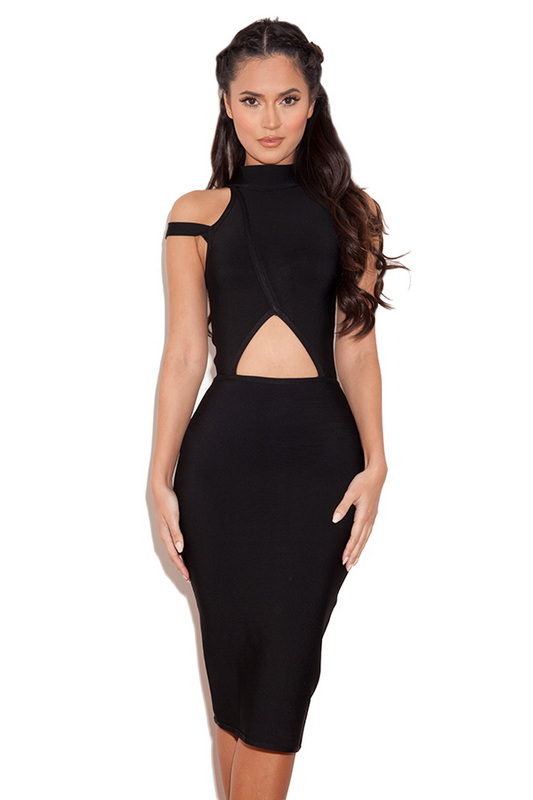 2016 Cheap Black High Neck Cutout Waist Bandage Party Dress [162001] – $122.00 : Cheap Ban ...