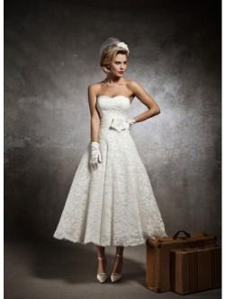 A-line Sweetheart Tea Length Vintage Lace Wedding Dress