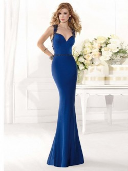 Mermaid Straps Sweep Satin Dress POWDN14077BN548