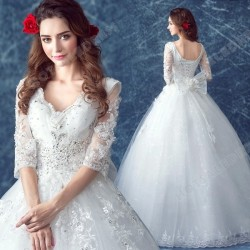 Princess Lace Deep V-neck Diamond Long-sleeved Floor-Length Wedding Dress 2016 New – Weddi ...