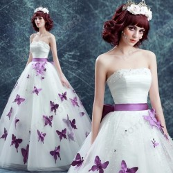 Purple Butterfly Strapless Ball Gown Pearl Floor-Length Wedding Dress 2016 New – Wedding D ...