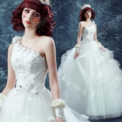 Sexy One-Shoulder Ball Gown Diamond Flower Floor-Length Wedding Dress 2016 New – Wedding D ...