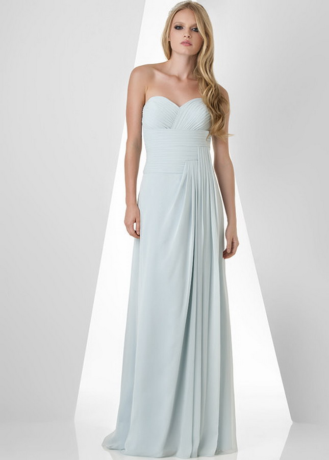 Bari Jay 873 Misty Blue Ruched Top Side Drape Chiffon Prom Dress – Bari Jay Prom Dress