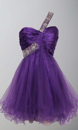 Purple Sequin One Shoulder Short Graduation Dresses KSP406 – £87.00