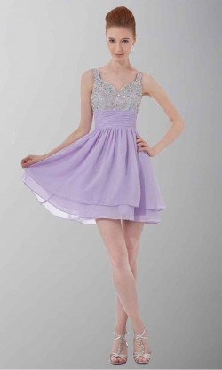 Short Straps Sequin Bodice Purple Cocktail Dresses KSP321 [KSP321] – £87.00