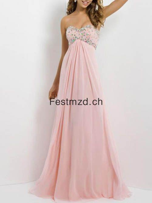 A-Linie Herzausschnitt Ärmellos Rosa Chiffon Abendkleider – Festmzd.ch