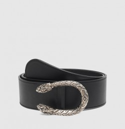 Gucci Leather Belt with Tiger Head Buckle