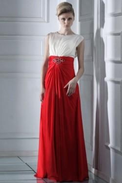 Robe pour soirée habillée empire drapée blanche & rouge – JMRouge.fr