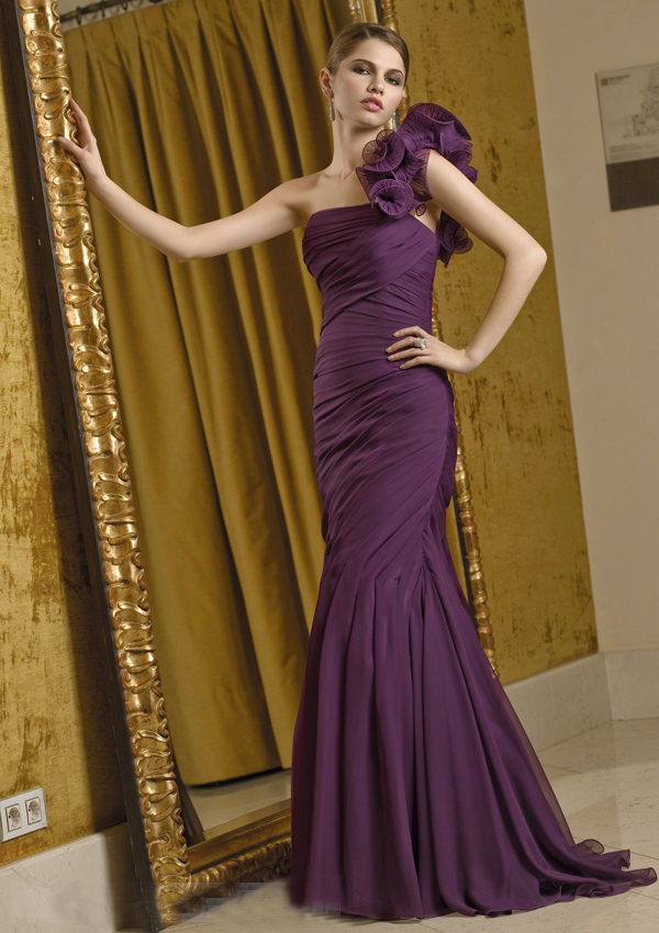 US$165.99 2015 Buttons Purple One Shoulder Ruched Chiffon Sleeveless Mermaid Floor Length