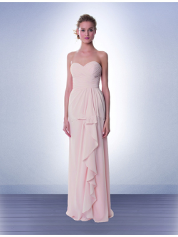 US$132.99 2015 Chiffon Ruched Pink Sleeveless Sweetheart Floor Length
