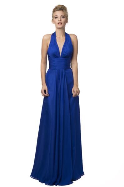 US$167.99 2016 Halter Chiffon Ruched A-line Blue Zipper Sleeveless Floor Length