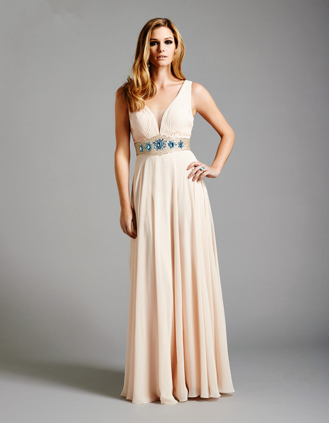 US$178.99 2015 V-neck Crystals Chiffon Sleeveless Floor Length