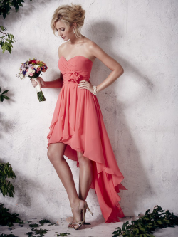 US$139.99 2016 Zipper Coral Chiffon Sweetheart High Low A-line Sleeveless Ruched