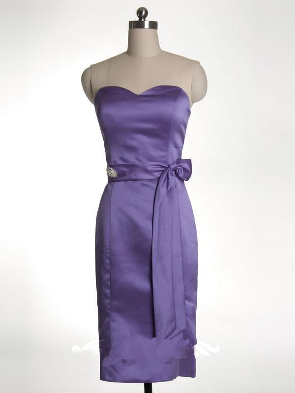 US$161.99 2015 Satin Sash Purple Sleeveless Sweetheart Zipper Short Length