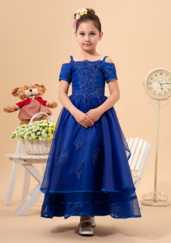US$106.99 2015 Tulle Appliques Blue Tea Length Spaghetti Straps Short Sleeves Ruched