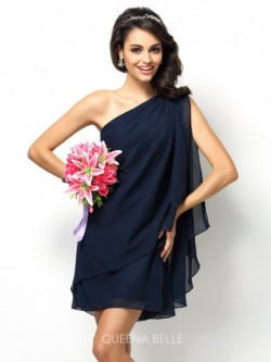 A-Line/Princess One-Shoulder Sleeveless Short/Mini Chiffon Bridesmaid Dresses – Wedding Gu ...