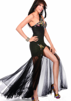 US$178.99 2015 Crystals Tulle Zipper One Shoulder Sleeveless Black Floor Length