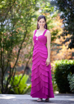 US$165.99 2015 Fuchsia Straps Ruched Tiers Sleeveless Chiffon Floor Length