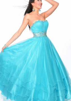 US$159.99 2015 Lace Up Strapless Tulle Crystals Fuchsia Blue Ruched Floor Length