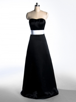 US$181.99 2015 Sleeveless Black Satin Zipper Strapless Ruched Sweep