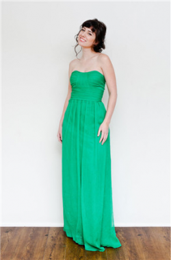 US$137.99 2016 Zipper Floor Length Sleeveless Chiffon A-line Ruched Green Sweetheart