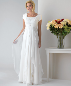 US$145.99 2015 Zipper White Square Chiffon Short Sleeves Floor Length