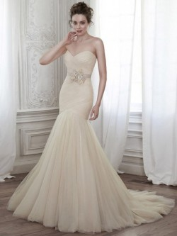 Different Trumpet/Mermaid Lace-up Tulle Sashes / Ribbons Sweetheart Wedding Dresses in UK