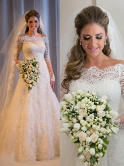 Off-the-shoulder Lace Tulle Sweep Train Appliques Lace Modest Long Sleeve Wedding Dresses in UK