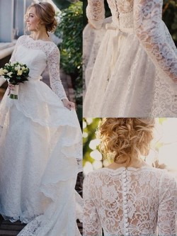 Scalloped Neck Sweep Train Lace Sashes / Ribbons Long Sleeve Newest Wedding Dresses in UK
