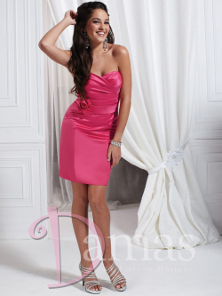 US$140.99 Lace Up Satin Short Length Fuchsia Column Sweetheart Flower Sleeveless