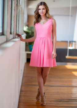 US$125.99 2015 Ruched A-line Pink Chiffon V-neck Short Length Sleeveless