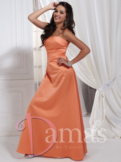 US$157.99 Ruched A-line Strapless Sleeveless Lace Up Floor Length Satin