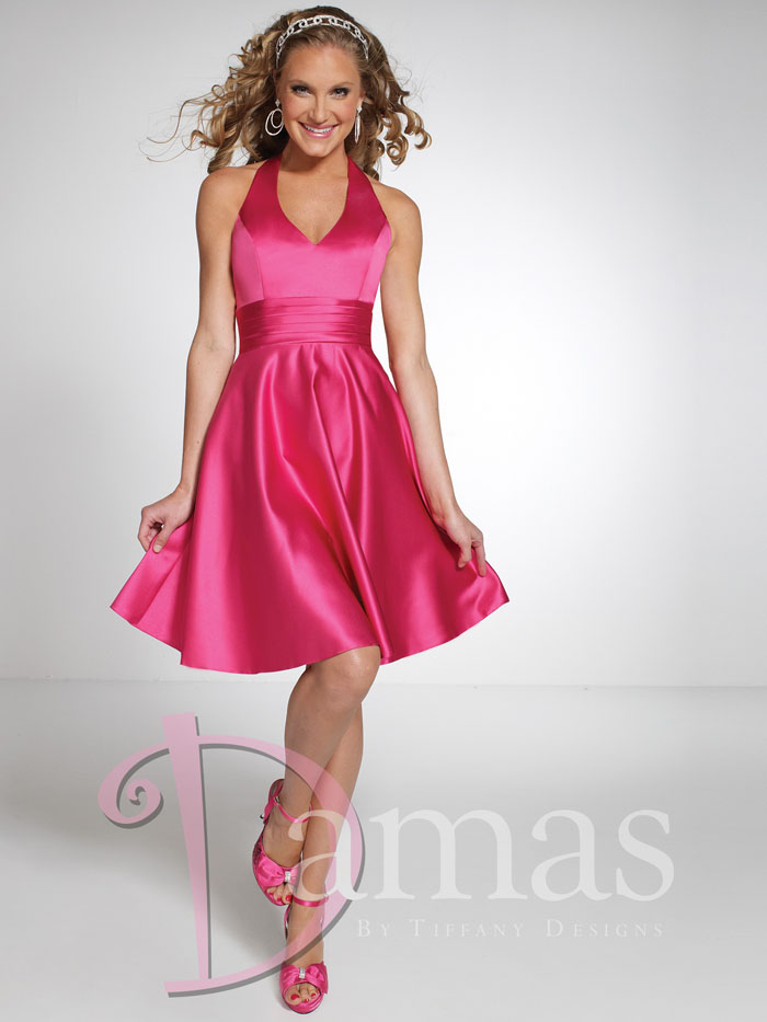 US$145.99 Short Length Sleeveless Fuchsia Ruched Halter Lace Up Satin A-line