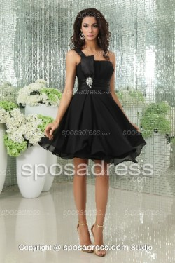 Black Formal A-line Chiffon Short One Shoulder Cocktail Dress – Sposadress.com