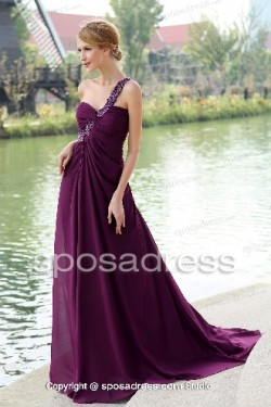 Glamorous One Strap Sweetheart Ruched Chiffon Prom Dress – Sposadress.com