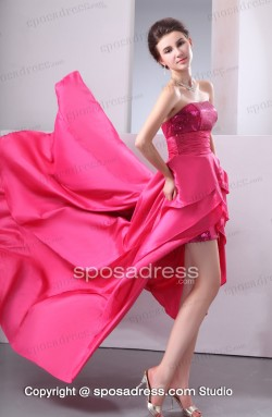 Glaring Strapless A-line Sequined Asymmetrical Prom Gown – Sposadress.com