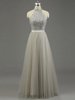 High Neck Gray Tulle Floor-length Beading Fashion Prom Dresses in UK
