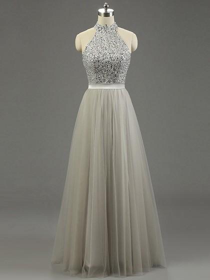 High Neck Gray Tulle Floor-length Beading Fashion Prom Dresses in UK