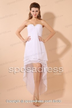 Pure White Strapless Asymmetrical Chiffon Summer Prom Dress – Sposadress.com