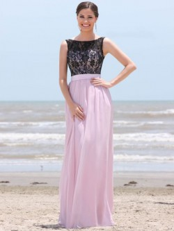 Scoop Neck Ruffles Lace Chiffon Floor-length Perfect Pink Bridesmaid Dress in UK