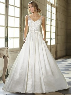 Sweep Train Ivory Satin Beading Open Back Ball Gown Wedding Dresses in UK