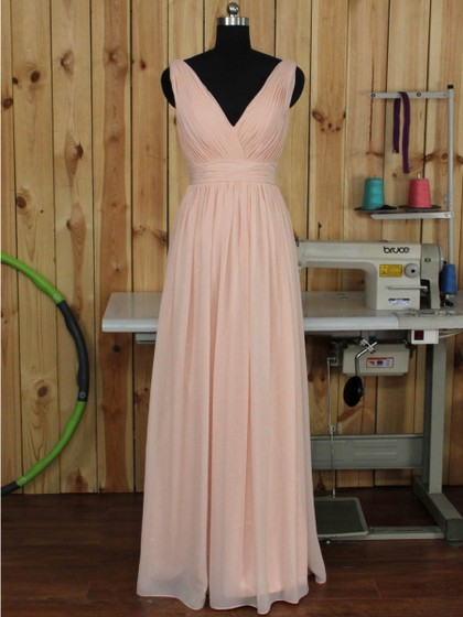 V-neck Ruched Chiffon Floor-length Pink Backless Bridesmaid Dress in UK