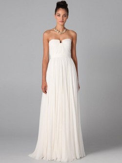 White Pleats Chiffon Floor-length Strapless Discounted Bridesmaid Dress in UK