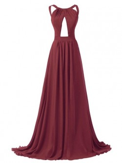 Ladies A-line Scoop Neck Chiffon Sweep Train Ruffles Backless Prom Dresses in UK