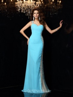 Sheath/Column One-Shoulder Sleeveless Rhinestone Chiffon Floor-Length Dresses – Evening Dr ...
