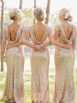 Sheath/Column Scoop Neck Sequined Short Sleeve Backless Bridesmaid Dresses in UK